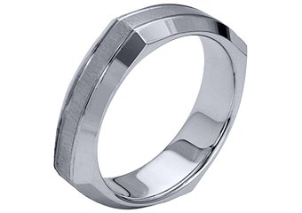 MENS WEDDING BAND ENGAGEMENT RING WHITE GOLD SATIN & HIGH GLOSS 5mm