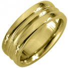MENS WEDDING BAND ENGAGEMENT RING YELLOW GOLD HIGH GLOSS 7mm