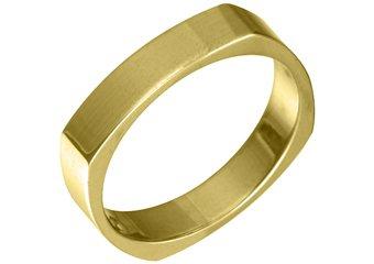 MENS WEDDING BAND ENGAGEMENT RING YELLOW GOLD HIGH GLOSS 4mm