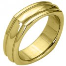 MENS WEDDING BAND ENGAGEMENT RING YELLOW GOLD HIGH GLOSS 6mm
