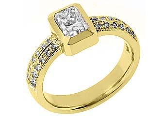 1.27 CARAT WOMENS DIAMOND ENGAGEMENT WEDDING RING EMERALD CUT BEZEL YELLOW GOLD