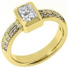 1.27 CARAT WOMENS DIAMOND ENGAGEMENT WEDDING RING EMERALD CUT BEZEL YELLOW GOLD