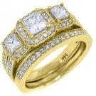 2CT WOMENS DIAMOND ENGAGEMENT RING WEDDING BAND BRIDAL SET PRINCESS YELLOW GOLD