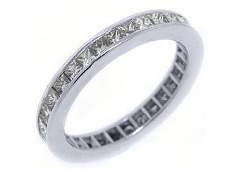 WOMENS DIAMOND ETERNITY BAND WEDDING RING PRINCESS CUT 2 CARAT 14KT WHITE GOLD