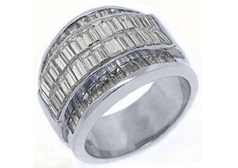 4.35 CARAT WOMENS BAGUETTE CUT INVISIBLE DIAMOND RING WEDDING BAND WHITE GOLD