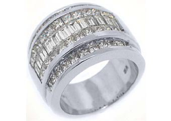 3.5CT WOMENS PRINCESS BAGUETTE INVISIBLE DIAMOND RING WEDDING BAND WHITE GOLD