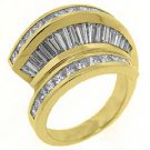 2.78CT WOMENS PRINCESS SQUARE BAGUETTE CUT DIAMOND RING WEDDING BAND YELLOW GOLD