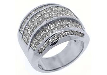 5 CARAT WOMENS PRINCESS CUT INVISIBLE DIAMOND RING WEDDING BAND WHITE GOLD