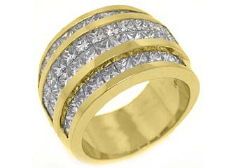 3.75 CARAT WOMENS PRINCESS CUT INVISIBLE DIAMOND RING WEDDING BAND YELLOW GOLD