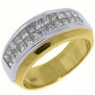 WOMENS 1.18CT PRINCESS SQUARE CUT DIAMOND RING WEDDING BAND TWO TONE GOLD