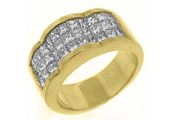 2.2CT WOMENS PRINCESS SQUARE CUT INVISIBLE DIAMOND RING WEDDING BAND YELLOW GOLD
