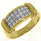 1CT WOMENS PRINCESS SQUARE CUT INVISIBLE DIAMOND RING WEDDING BAND YELLOW GOLD