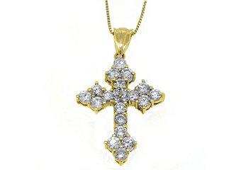 2.41 Carat Round Diamond Cross Pendant 14KT Yellow Gold