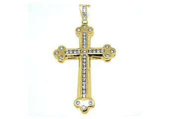 3.63 Carat Round Diamond Cross Pendant 14KT Yellow Gold