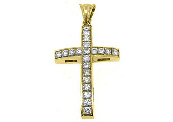 2.58 Carat Round Diamond Cross Pendant 14KT Yellow Gold