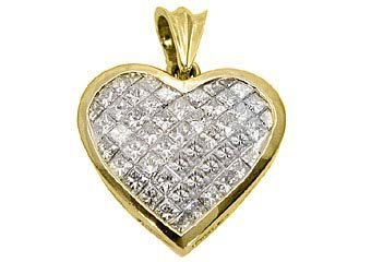 3 Carat Womens Diamond Heart Pendant Invisible Princess Square Cut Yellow Gold