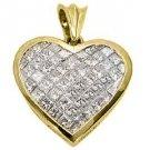 3 Carat Womens Diamond Heart Pendant Invisible Princess Square Cut Yellow Gold