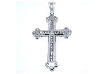 Mens Diamond Cross Pendant Brilliant Round Cut 3.63 Carats 14KT White Gold