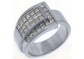 2 CARAT WOMENS PRINCESS CUT INVISIBLE DIAMOND RING WEDDING BAND WHITE GOLD