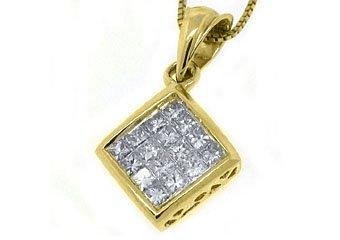Womens Square Diamond Pendant 14KT Yellow Gold Invisible Princess .58 Carats