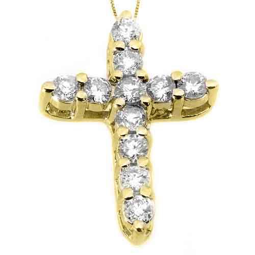 1.10 Carat Diamond Cross Pendant 14KT Yellow Gold Brilliant Round Cut Prong Set