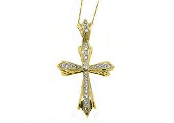 1 Carat Diamond Cross Pendant 14KT Yellow Gold Brilliant Round Cut