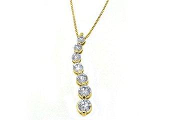 1 Carat Womens Diamond Journey Pendant 14KT Yellow Gold Brilliant Round Cut