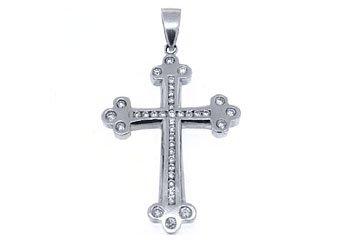 2 Carat Mens Diamond Cross Pendant 14KT White Gold Brilliant Round Diamonds