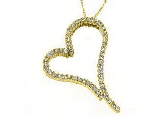 2.44 Carat Womens Diamond Heart Pendant Round Cut Prong Set 14KT Yellow Gold
