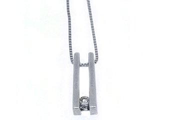 Tension Set Diamond Pendant 14KT White Gold Solitaire Brilliant Round Diamond
