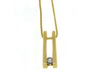 Tension Set Diamond Pendant 14KT Yellow Gold Solitaire Brilliant Round Diamond