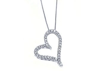 Womens Diamond Heart Pendant 14KT White Gold Brilliant Round Cut Prong Set