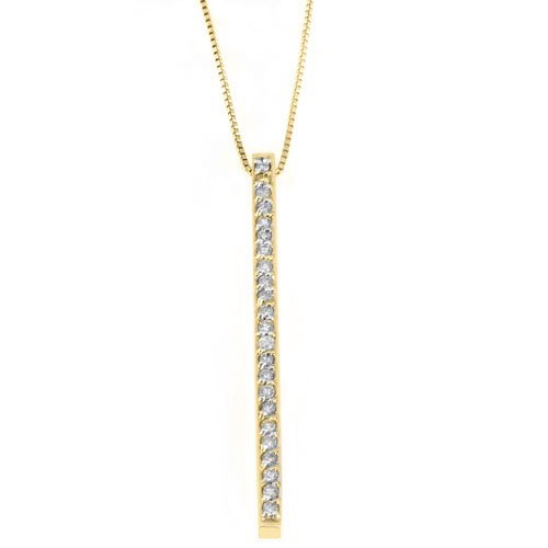 Womens Diamond Line Pendant 14KT Yellow Gold Brilliant Round Cut .62 Carats