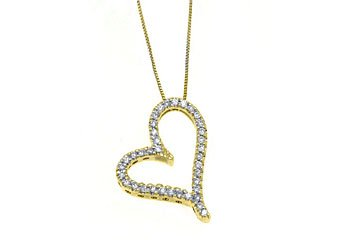 Womens Diamond Heart Pendant 14KT Yellow Gold Brilliant Round Cut Prong Set