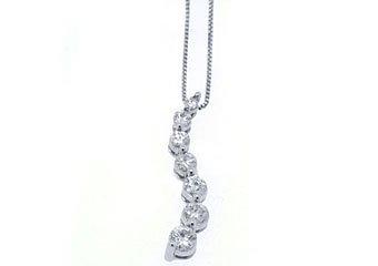 3/4 Carat Womens Diamond Journey Pendant 14KT White Gold Brilliant Round Cut