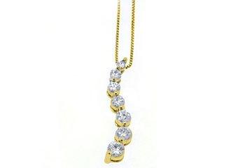 3/4 Carat Womens Diamond Journey Pendant 14KT Yellow Gold Brilliant Round Cut