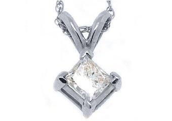 1/3 Carat Solitaire Princess Square Diamond Pendant 14KT White Gold Womens