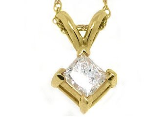 1/3 Carat Solitaire Princess Square Diamond Pendant 14KT Yellow Gold Womens