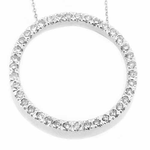 Womens Diamond Circle of Love Pendant 14KT White Gold Brilliant Round Cut