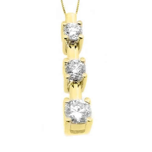 1/2 Carat Diamond 3 Stone Pendant 14KT Yellow Gold Brilliant Round Cut Diamonds