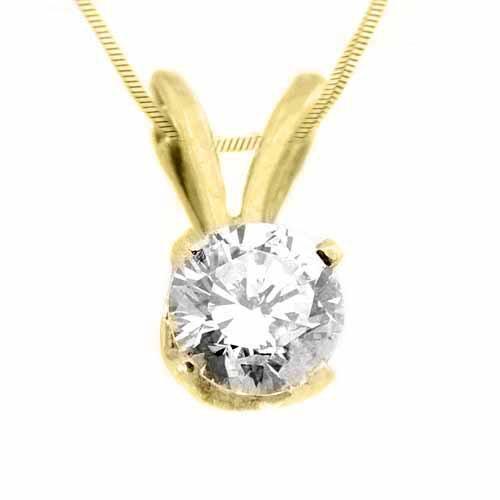 1/2CT Solitaire Diamond Pendant Brilliant Round Cut Prong Set 14KT Yellow Gold