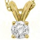 .28 Carat Solitaire Brilliant Round Cut Diamond Pendant 14KT Yellow Gold Womens