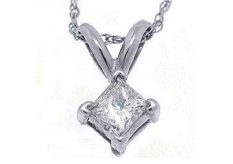 1/4 Carat Solitaire Princess Square Diamond Pendant 14KT White Gold Womens