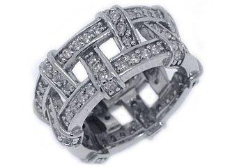 WOMENS DIAMOND ETERNITY BAND WEDDING RING PAVE SET 1.5 CARAT 14KT WHITE GOLD