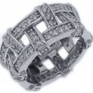 WOMENS DIAMOND ETERNITY BAND WEDDING RING PAVE SET 1.5 CARAT 14KT WHITE GOLD