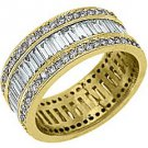 WOMENS DIAMOND ETERNITY BAND WEDDING RING BAGUETTE CUT 3 CARATS 14KT YELLOW GOLD