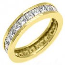 WOMENS DIAMOND ETERNITY BAND WEDDING RING SQUARE PRINCESS 3 CARAT YELLOW GOLD