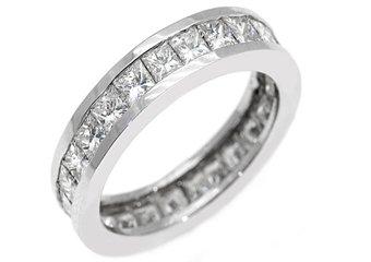 WOMENS DIAMOND ETERNITY BAND WEDDING RING SQUARE PRINCESS 3 CARAT 14K WHITE GOLD