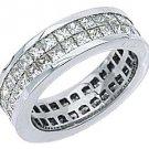 WOMENS DIAMOND ETERNITY BAND WEDDING RING SQUARE PRINCESS 3.5 CARAT WHITE GOLD