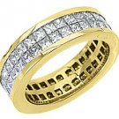 WOMENS DIAMOND ETERNITY BAND WEDDING RING SQUARE PRINCESS 3.5 CARAT YELLOW GOLD